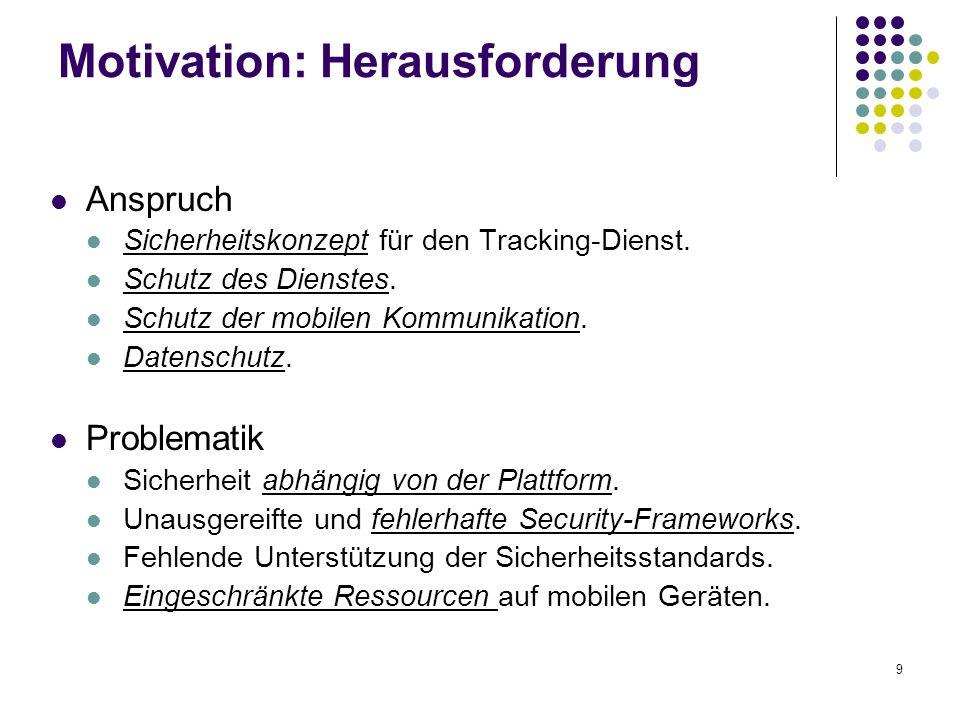 9 Motivation: Herausforderung Anspruch Sicherheitskonzept für den Tracking-Dienst. Schutz des Dienstes. Schutz der mobilen Kommunikation. Datenschutz.