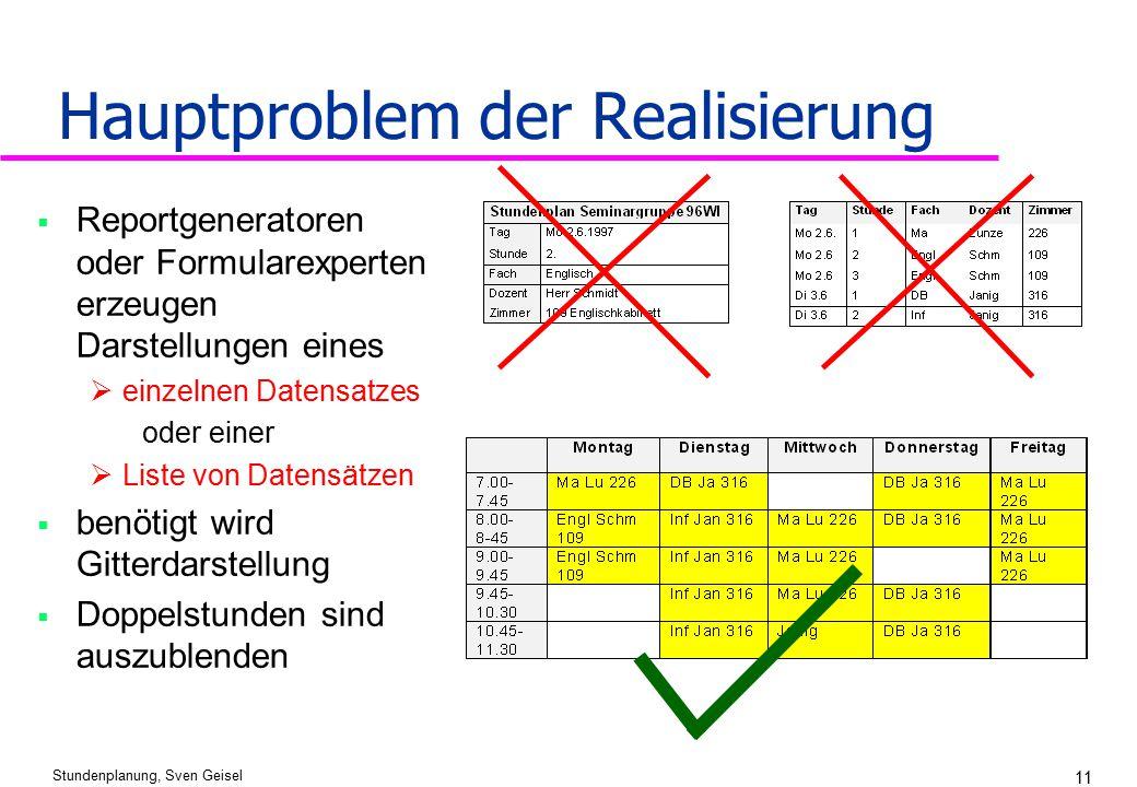Stundenplanung, Sven Geisel 11 Hauptproblem der Realisierung  Reportgeneratoren oder Formularexperten erzeugen Darstellungen eines  einzelnen Datens