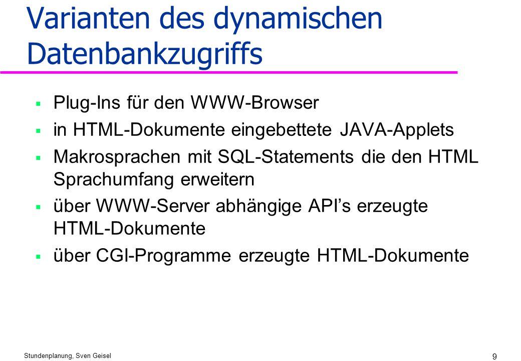 Stundenplanung, Sven Geisel 9 Varianten des dynamischen Datenbankzugriffs  Plug-Ins für den WWW-Browser  in HTML-Dokumente eingebettete JAVA-Applets