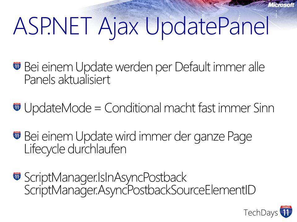 ASP.NET Ajax UpdatePanel Bei einem Update werden per Default immer alle Panels aktualisiert UpdateMode = Conditional macht fast immer Sinn Bei einem Update wird immer der ganze Page Lifecycle durchlaufen ScriptManager.IsInAsyncPostback ScriptManager.AsyncPostbackSourceElementID