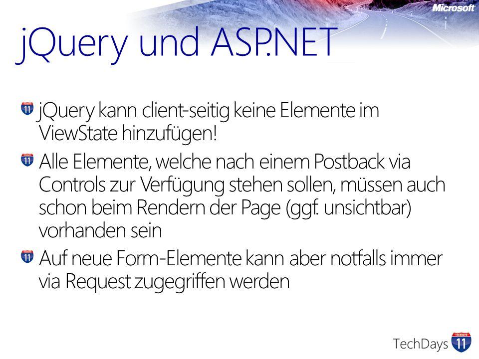 jQuery kann client-seitig keine Elemente im ViewState hinzufügen.
