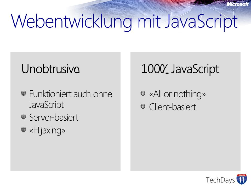 Webentwicklung mit JavaScript Unobtrusive Funktioniert auch ohne JavaScript Server-basiert «Hijaxing» 100% JavaScript «All or nothing» Client-basiert