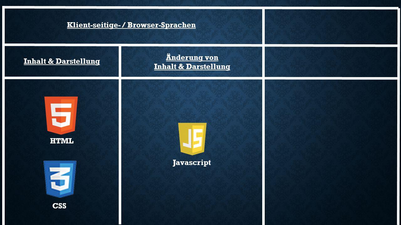 Inhalt & Darstellung Javascript HTML CSS Änderung von Inhalt & Darstellung Klient-seitige- / Browser-Sprachen