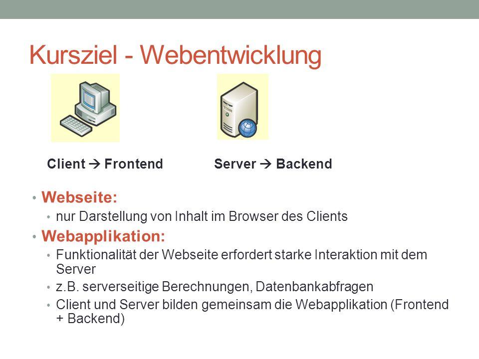 Kursziel - Webentwicklung Webseite: nur Darstellung von Inhalt im Browser des Clients Webapplikation: Funktionalität der Webseite erfordert starke Int
