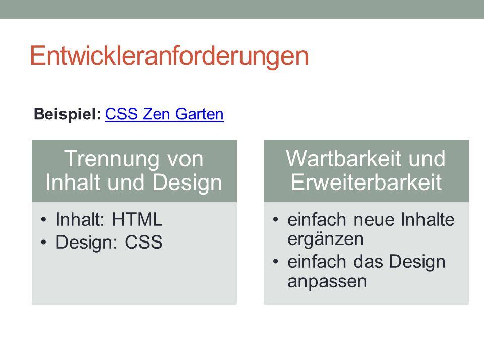 Entwickleranforderungen Trennung von Inhalt und Design Inhalt: HTML Design: CSS Wartbarkeit und Erweiterbarkeit einfach neue Inhalte ergänzen einfach