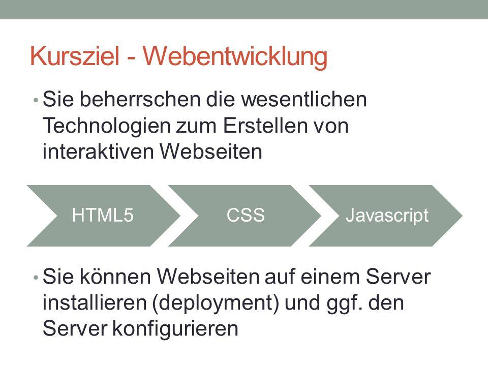 Kursziel - Webentwicklung HTML5CSSJavascript Sie beherrschen die wesentlichen Technologien zum Erstellen von interaktiven Webseiten Sie können Webseit