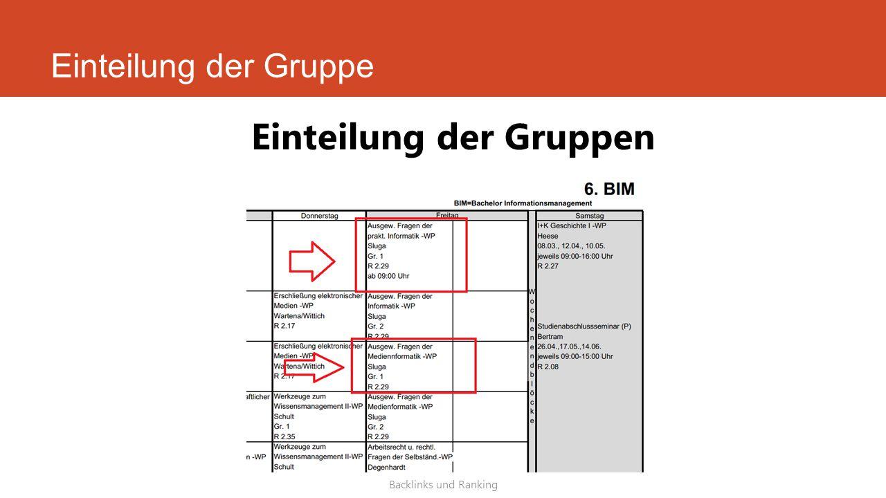 Einteilung der Gruppe Backlinks und Ranking Einteilung der Gruppen