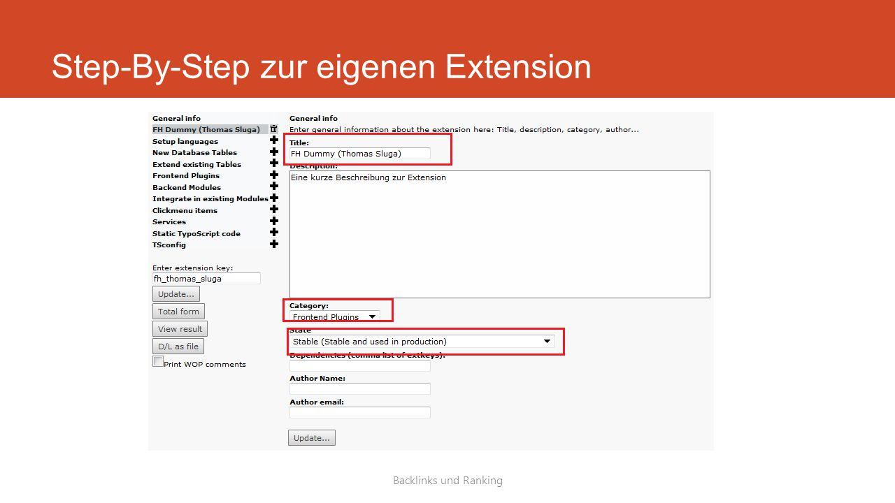 Step-By-Step zur eigenen Extension Backlinks und Ranking