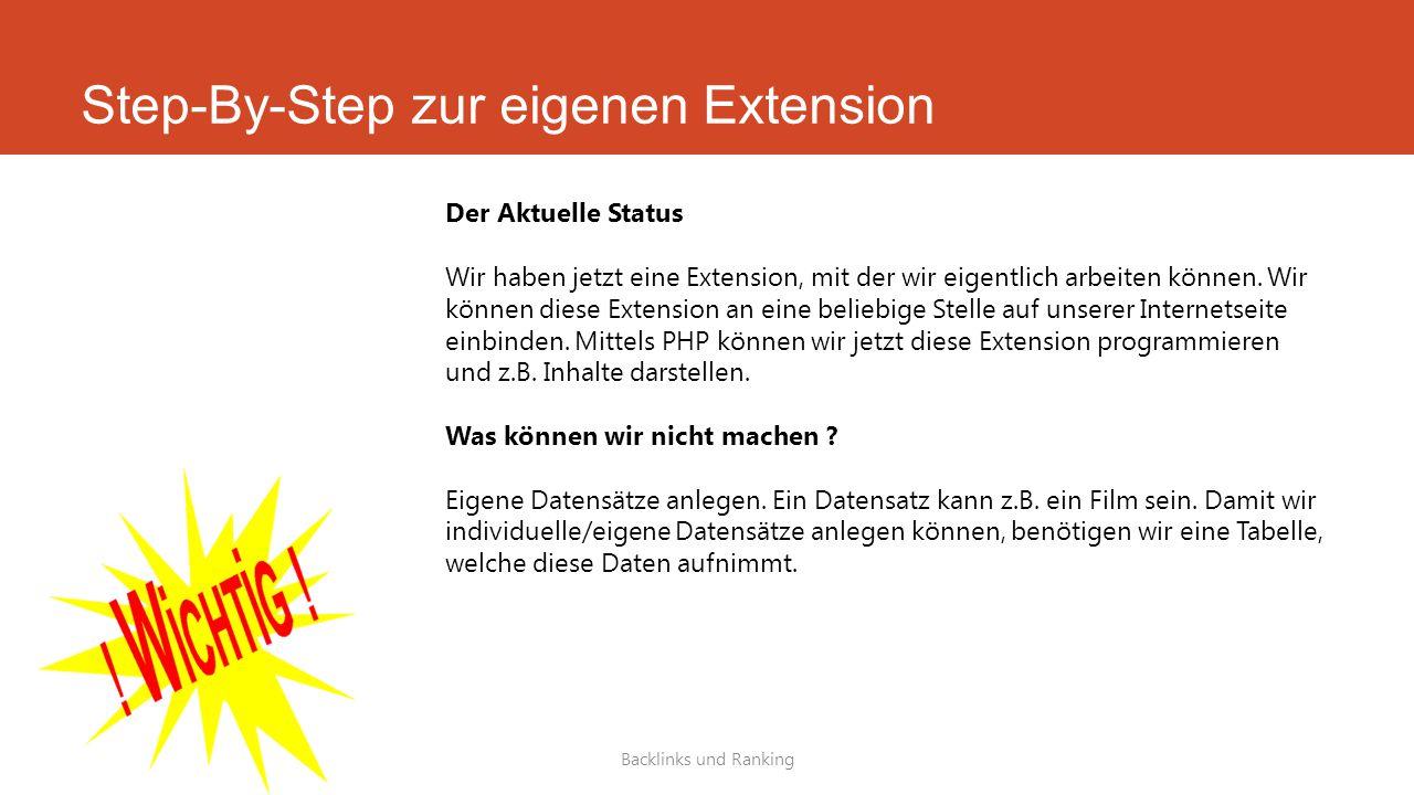 Step-By-Step zur eigenen Extension Backlinks und Ranking Der Aktuelle Status Wir haben jetzt eine Extension, mit der wir eigentlich arbeiten können.