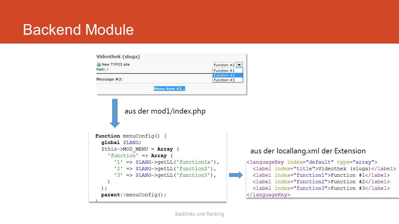 Backend Module Backlinks und Ranking aus der mod1/index.php aus der locallang.xml der Extension