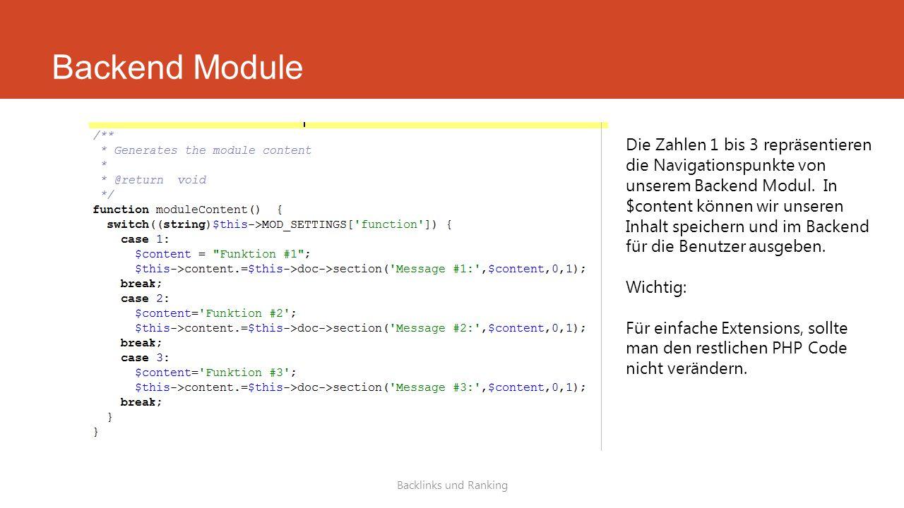 Backend Module Backlinks und Ranking Die Zahlen 1 bis 3 repräsentieren die Navigationspunkte von unserem Backend Modul.