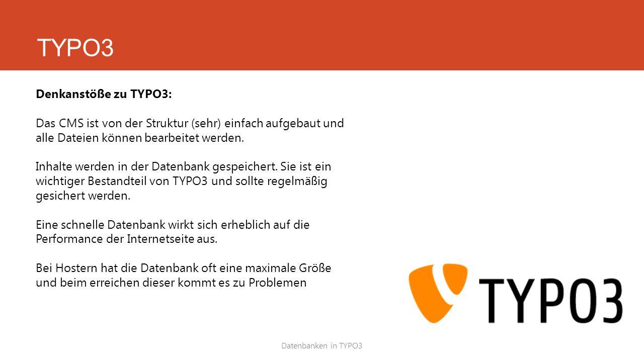 Datenbanken in TYPO3 Denkanstöße zu TYPO3: Das CMS ist von der Struktur (sehr) einfach aufgebaut und alle Dateien können bearbeitet werden.
