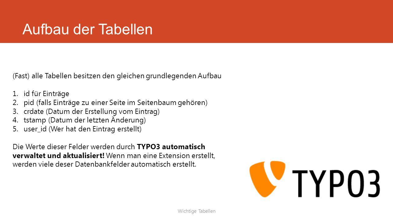 Aufbau der Tabellen Wichtige Tabellen (Fast) alle Tabellen besitzen den gleichen grundlegenden Aufbau 1.id für Einträge 2.pid (falls Einträge zu einer Seite im Seitenbaum gehören) 3.crdate (Datum der Erstellung vom Eintrag) 4.tstamp (Datum der letzten Änderung) 5.user_id (Wer hat den Eintrag erstellt) Die Werte dieser Felder werden durch TYPO3 automatisch verwaltet und aktualisiert.