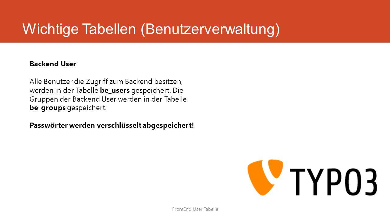 Wichtige Tabellen (Benutzerverwaltung) FrontEnd User Tabelle Backend User Alle Benutzer die Zugriff zum Backend besitzen, werden in der Tabelle be_users gespeichert.