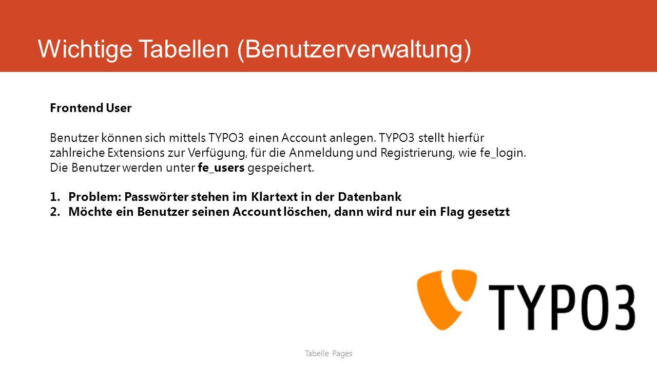 Wichtige Tabellen (Benutzerverwaltung) Tabelle Pages Frontend User Benutzer können sich mittels TYPO3 einen Account anlegen.