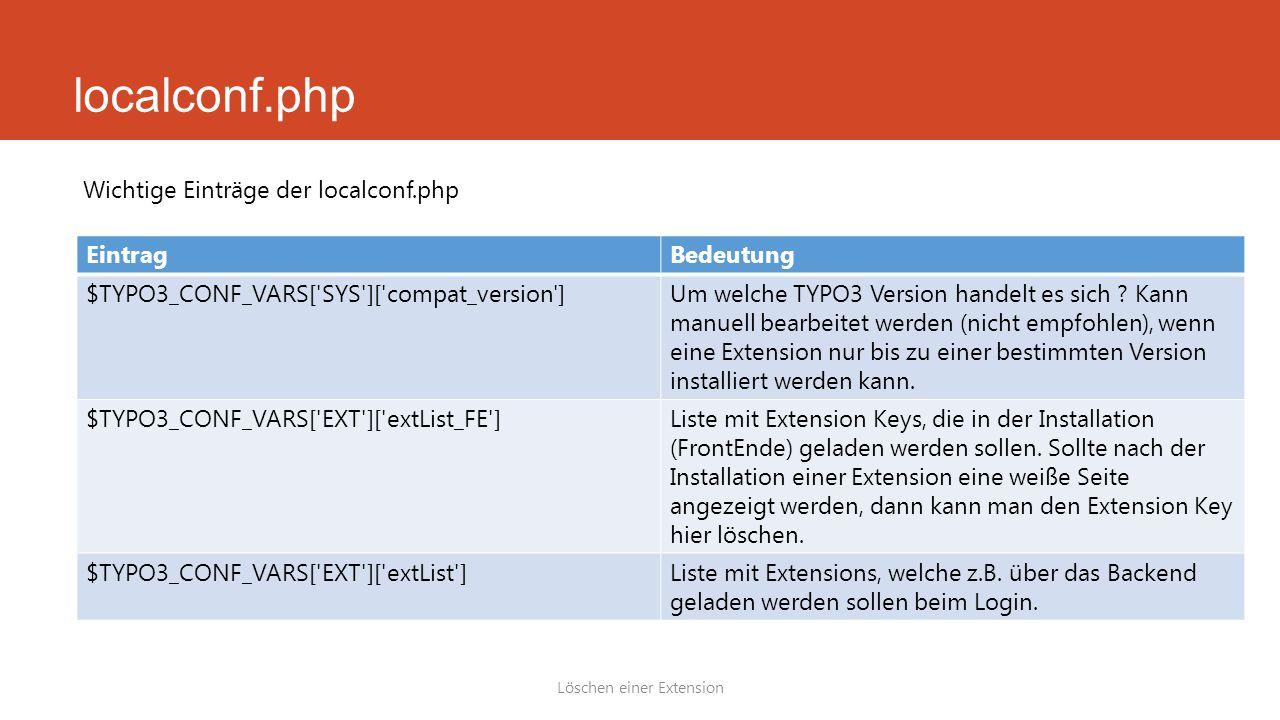 localconf.php Löschen einer Extension Wichtige Einträge der localconf.php EintragBedeutung $TYPO3_CONF_VARS[ SYS ][ compat_version ]Um welche TYPO3 Version handelt es sich .