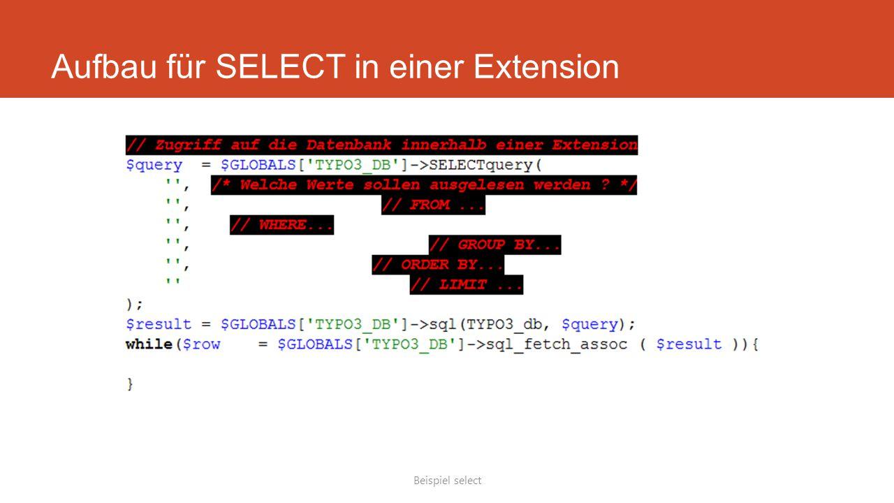 Aufbau für SELECT in einer Extension Beispiel select