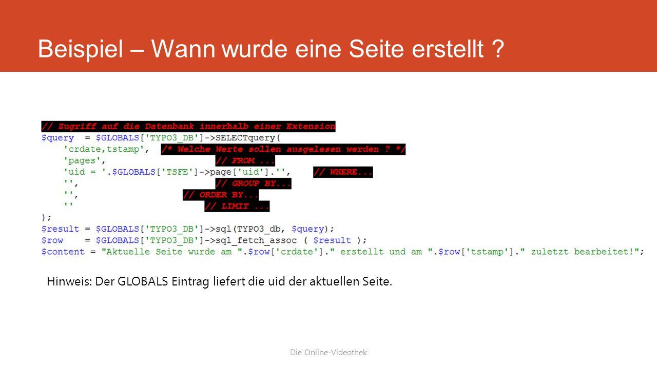 Beispiel – Wann wurde eine Seite erstellt .