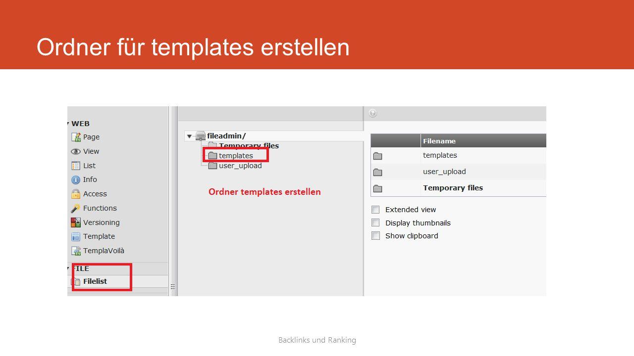 Ordner für templates erstellen Backlinks und Ranking