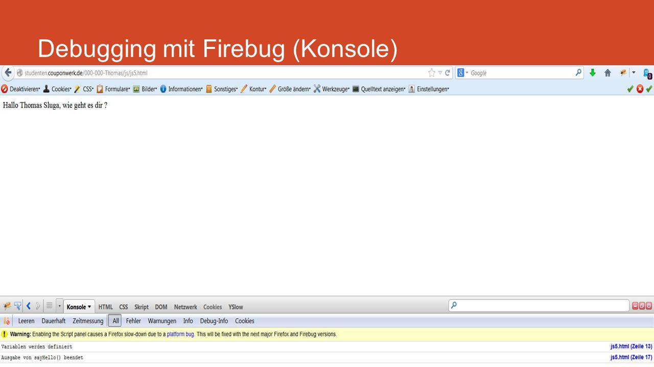 Debugging mit Firebug (Konsole) Backlinks und Ranking