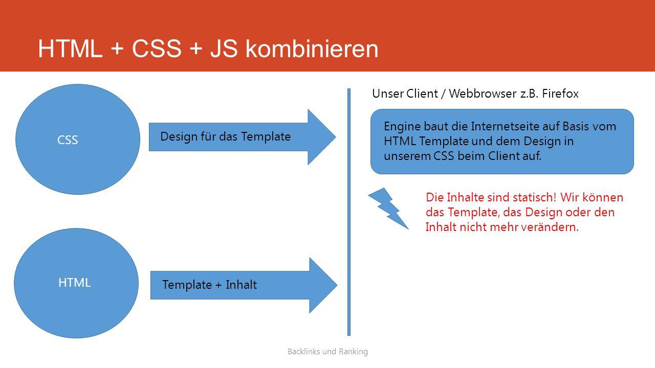 HTML + CSS + JS kombinieren Backlinks und Ranking HTML CSS Template + Inhalt Design für das Template Unser Client / Webbrowser z.B.