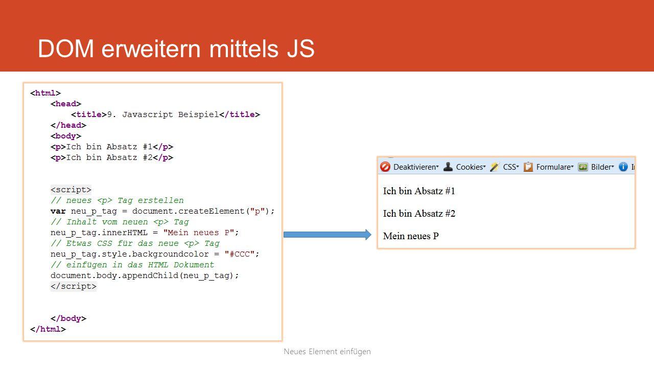DOM erweitern mittels JS Neues Element einfügen
