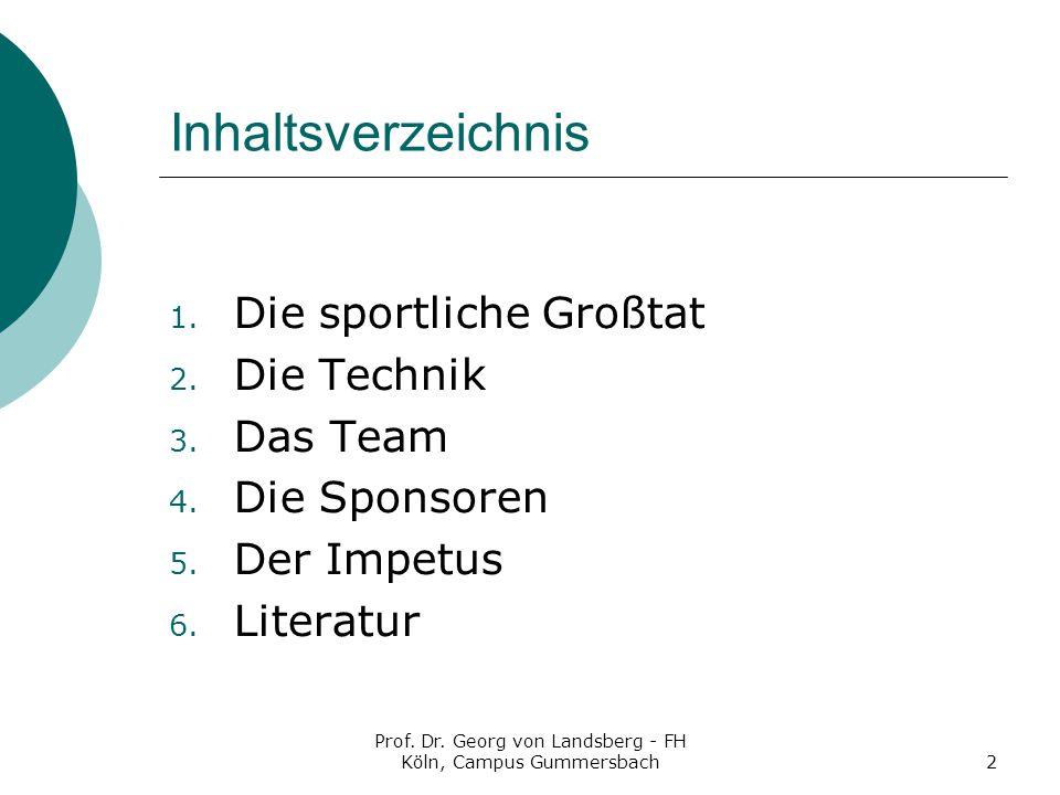 Prof.Dr. Georg von Landsberg - FH Köln, Campus Gummersbach2 Inhaltsverzeichnis 1.