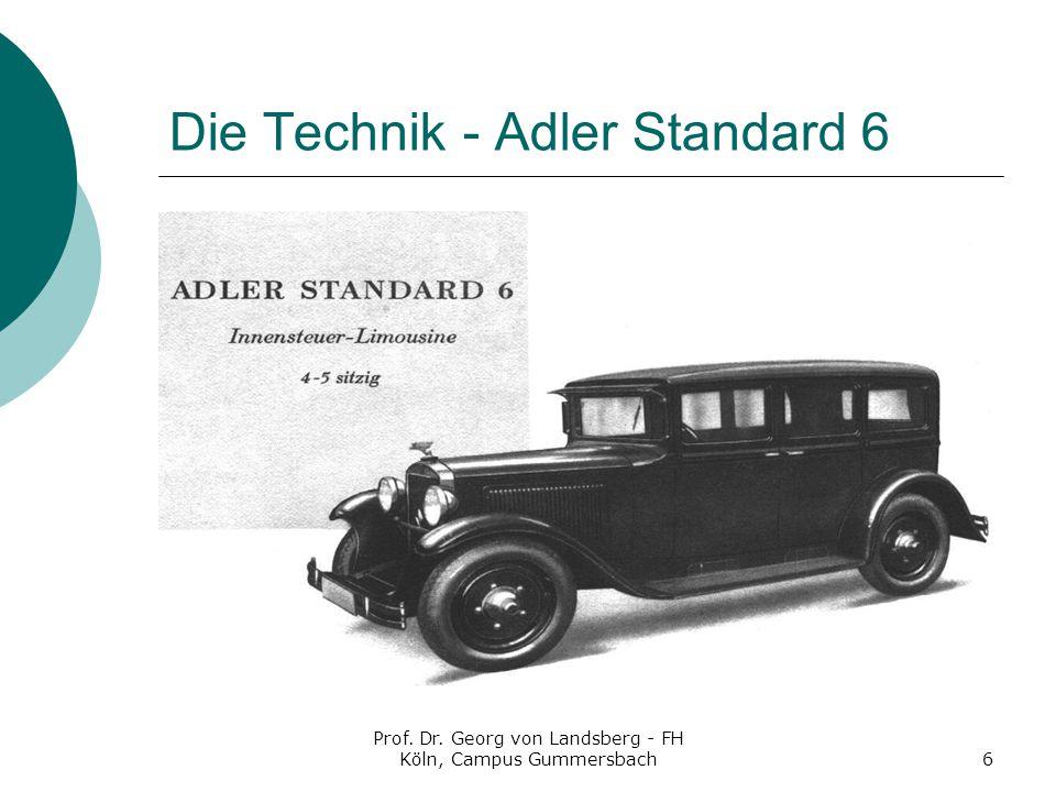 Prof. Dr. Georg von Landsberg - FH Köln, Campus Gummersbach6 Die Technik - Adler Standard 6