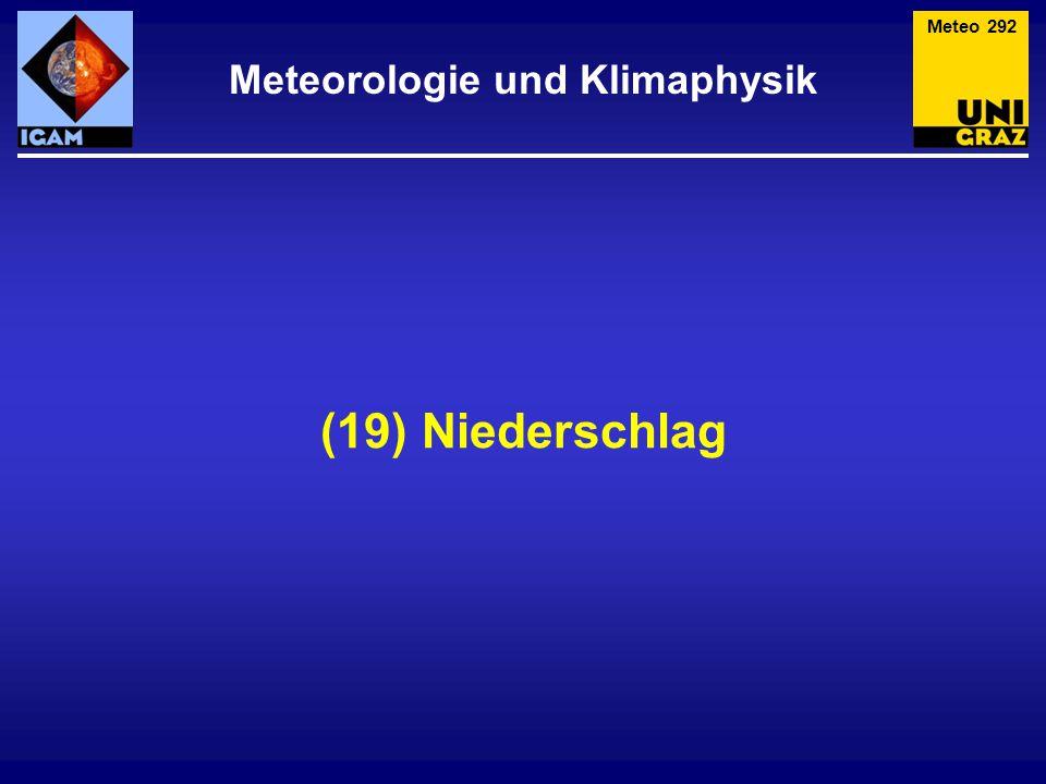 Niederschlag Meteo 293 Hier unterscheidet man: Fallender Niederschlag – wird in der Atmosphäre gebildet und fällt infolge der Schwerkraft auf den Erdboden (Regen, Schnee, Graupel, …).