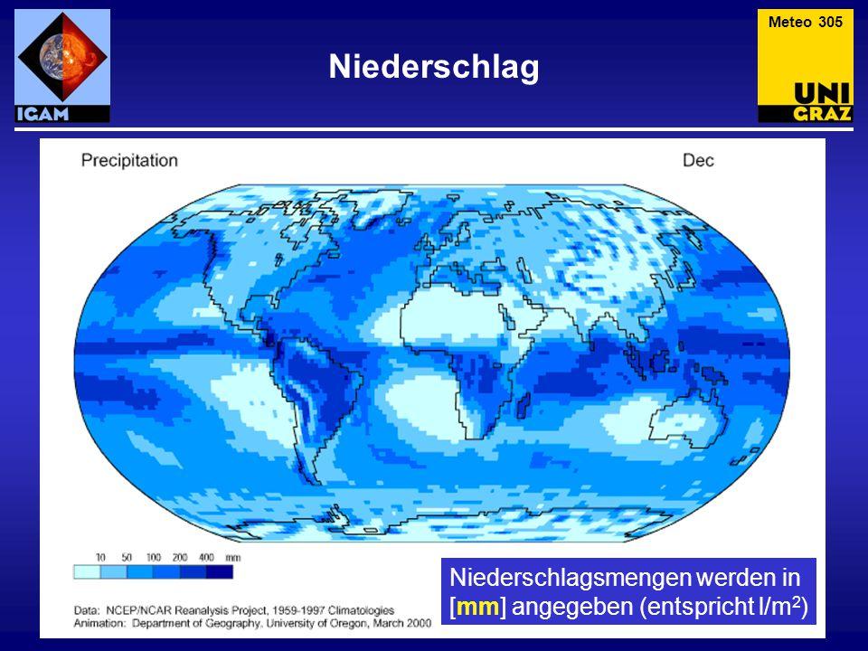 Niederschlag Meteo 305 Niederschlagsmengen werden in [mm] angegeben (entspricht l/m 2 )
