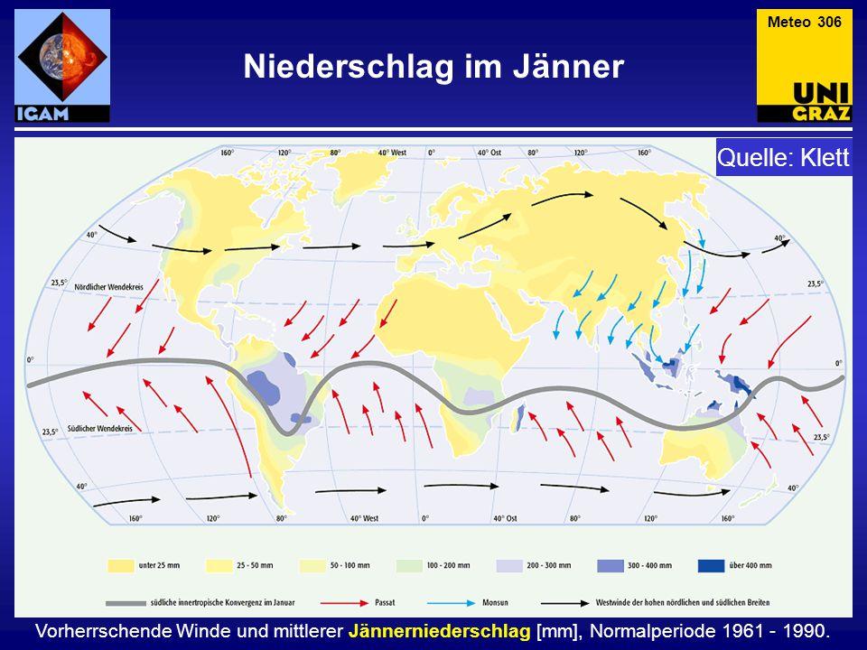 Vorherrschende Winde und mittlerer Jännerniederschlag [mm], Normalperiode 1961 - 1990. Niederschlag im Jänner Meteo 306 Quelle: Klett