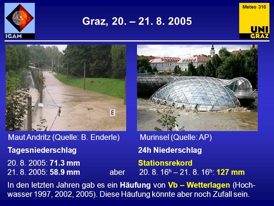 Graz, 20. – 21. 8. 2005 Tagesniederschlag 24h Niederschlag 20. 8. 2005: 71.3 mm Stationsrekord 21. 8. 2005: 58.9 mm aber 20. 8. 16 h – 21. 8. 16 h : 1