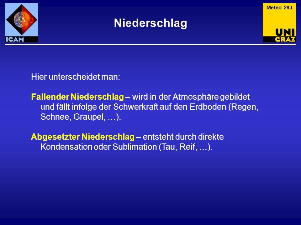 Niederschlag Meteo 293 Hier unterscheidet man: Fallender Niederschlag – wird in der Atmosphäre gebildet und fällt infolge der Schwerkraft auf den Erdb