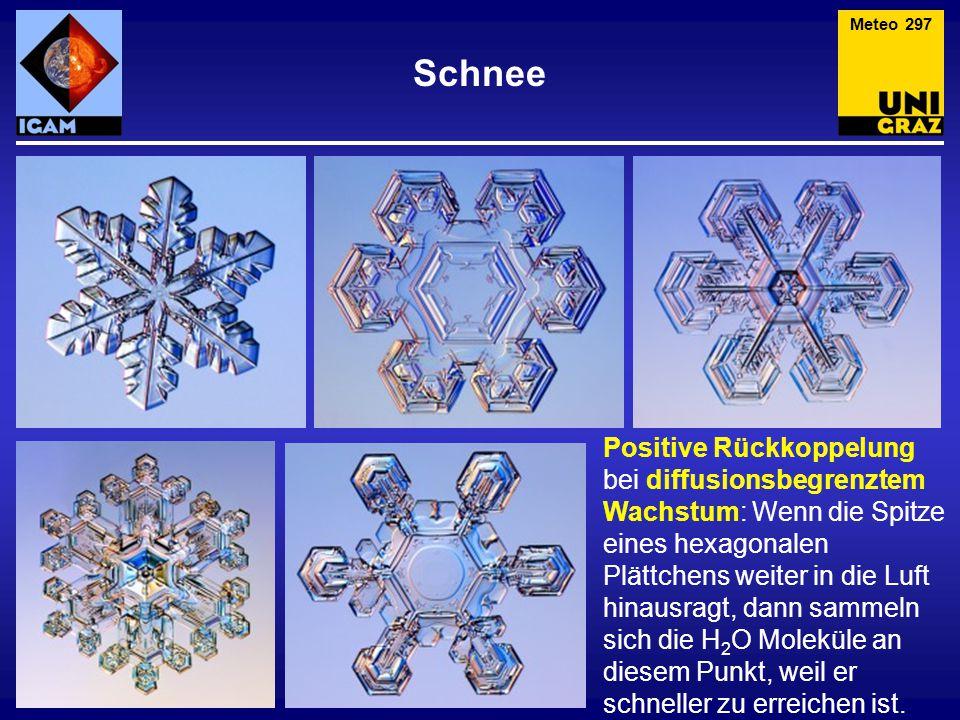 """Schnee Meteo 298 Zwischen –3°C und –10°C bilden die Kristalle dünne Nadeln und lange Säulen, aber auch """"Hanteln ."""