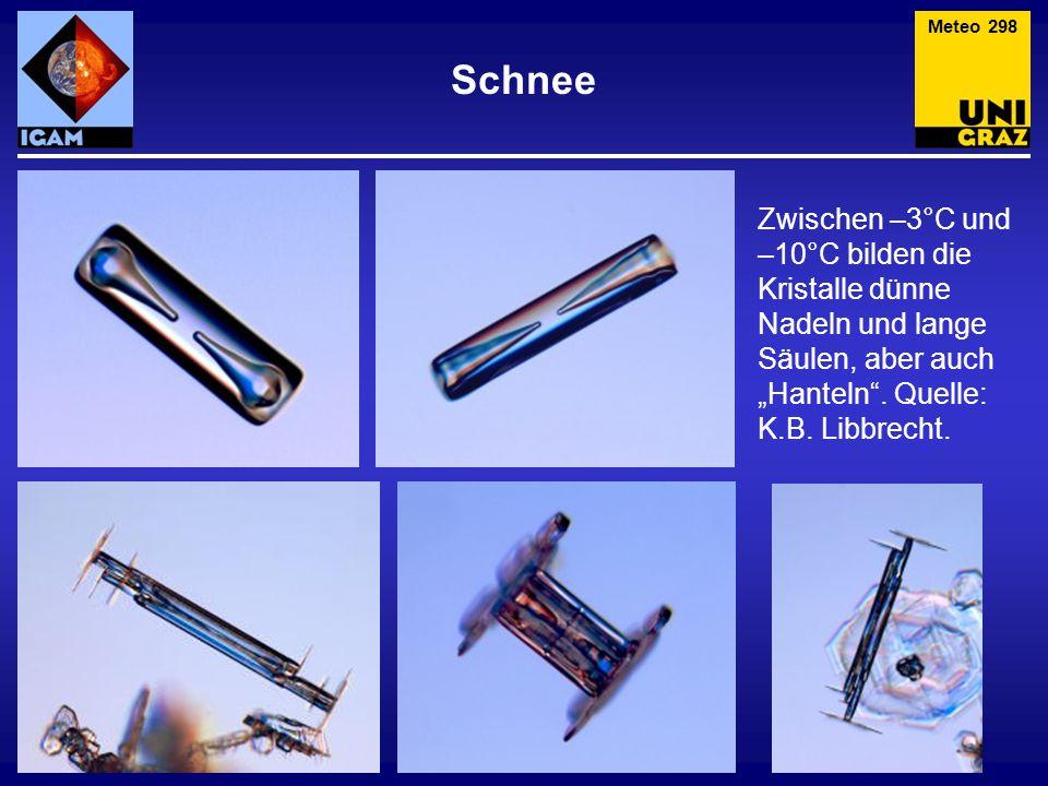 """Schnee Meteo 298 Zwischen –3°C und –10°C bilden die Kristalle dünne Nadeln und lange Säulen, aber auch """"Hanteln"""". Quelle: K.B. Libbrecht."""