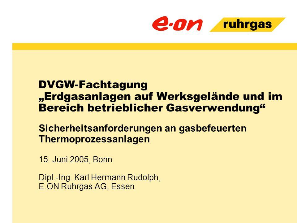 """DVGW-Fachtagung """"Erdgasanlagen auf Werksgelände und im Bereich betrieblicher Gasverwendung"""" Sicherheitsanforderungen an gasbefeuerten Thermoprozessanl"""