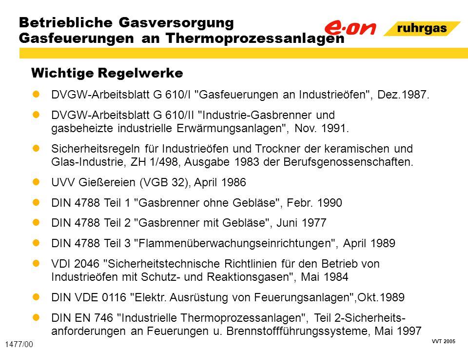 VVT 2005 Betriebliche Gasversorgung Gasfeuerungen an Thermoprozessanlagen Wichtige Regelwerke 1477/00 DVGW-Arbeitsblatt G 610/I