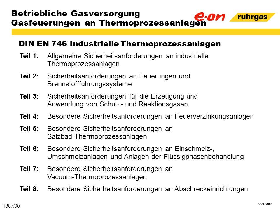 VVT 2005 Betriebliche Gasversorgung Gasfeuerungen an Thermoprozessanlagen DIN EN 746 Industrielle Thermoprozessanlagen 1887/00 Teil 1:Allgemeine Siche