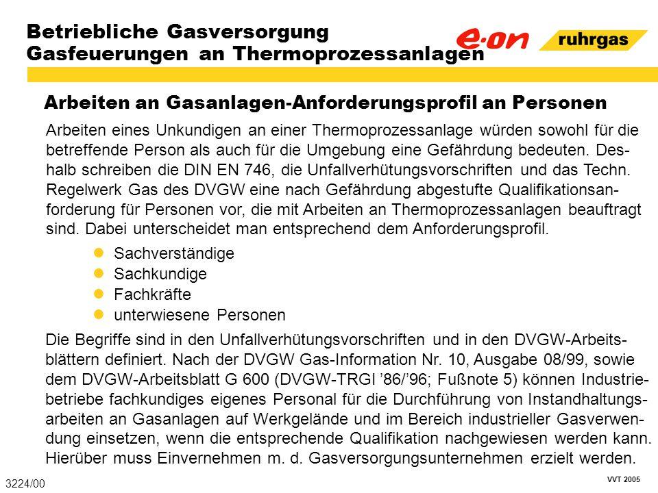 VVT 2005 Betriebliche Gasversorgung Gasfeuerungen an Thermoprozessanlagen Arbeiten an Gasanlagen-Anforderungsprofil an Personen 3224/00 Sachverständig
