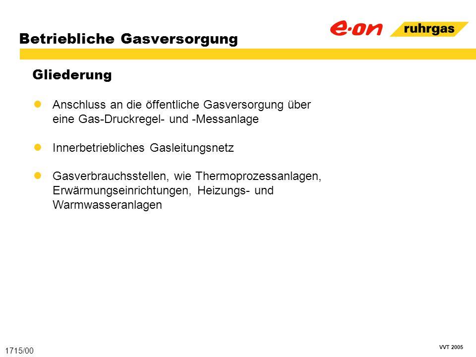 VVT 2005 Betriebliche Gasversorgung Gliederung 1715/00 Anschluss an die öffentliche Gasversorgung über eine Gas-Druckregel- und -Messanlage Innerbetri