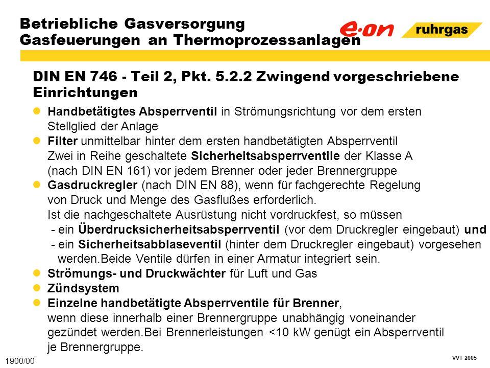 VVT 2005 Betriebliche Gasversorgung Gasfeuerungen an Thermoprozessanlagen DIN EN 746 - Teil 2, Pkt. 5.2.2 Zwingend vorgeschriebene Einrichtungen 1900/