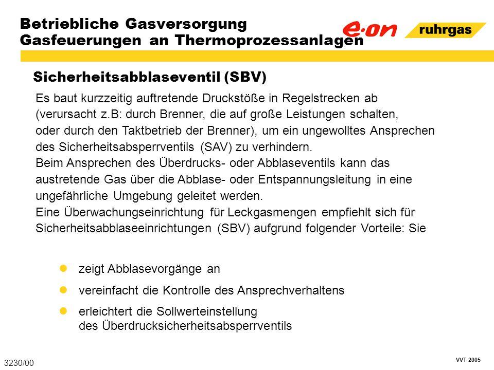 VVT 2005 Betriebliche Gasversorgung Gasfeuerungen an Thermoprozessanlagen Sicherheitsabblaseventil (SBV) 3230/00 Es baut kurzzeitig auftretende Drucks