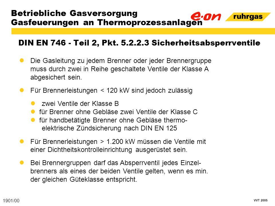 VVT 2005 Betriebliche Gasversorgung Gasfeuerungen an Thermoprozessanlagen DIN EN 746 - Teil 2, Pkt. 5.2.2.3 Sicherheitsabsperrventile 1901/00 Die Gasl