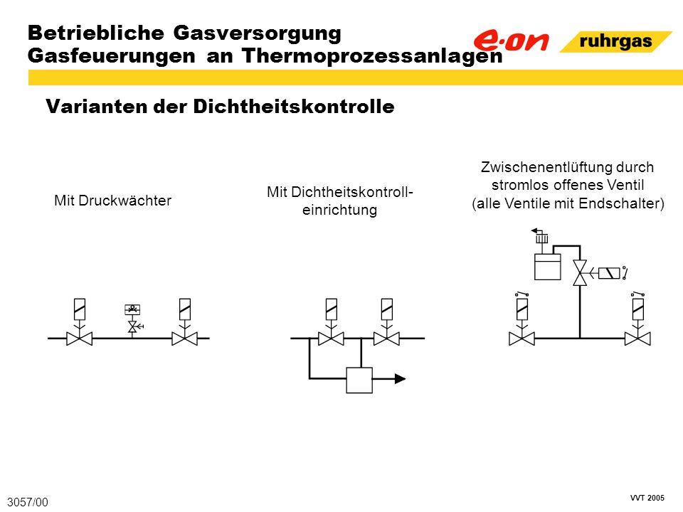 VVT 2005 Betriebliche Gasversorgung Gasfeuerungen an Thermoprozessanlagen Varianten der Dichtheitskontrolle 3057/00 Mit Druckwächter Mit Dichtheitskon
