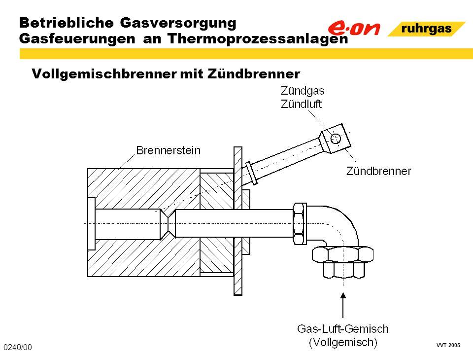 VVT 2005 Betriebliche Gasversorgung Gasfeuerungen an Thermoprozessanlagen Vollgemischbrenner mit Zündbrenner 0240/00