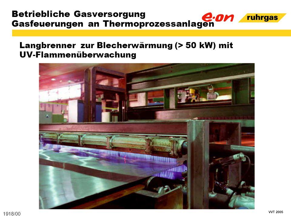 VVT 2005 Betriebliche Gasversorgung Gasfeuerungen an Thermoprozessanlagen Langbrenner zur Blecherwärmung (> 50 kW) mit UV-Flammenüberwachung 1918/00
