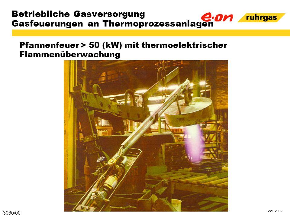 VVT 2005 Betriebliche Gasversorgung Gasfeuerungen an Thermoprozessanlagen Pfannenfeuer > 50 (kW) mit thermoelektrischer Flammenüberwachung 3060/00