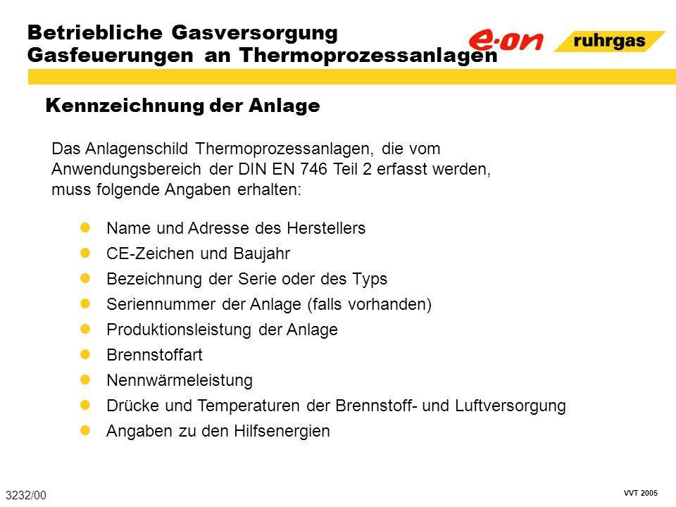 VVT 2005 Betriebliche Gasversorgung Gasfeuerungen an Thermoprozessanlagen Kennzeichnung der Anlage 3232/00 Name und Adresse des Herstellers CE-Zeichen