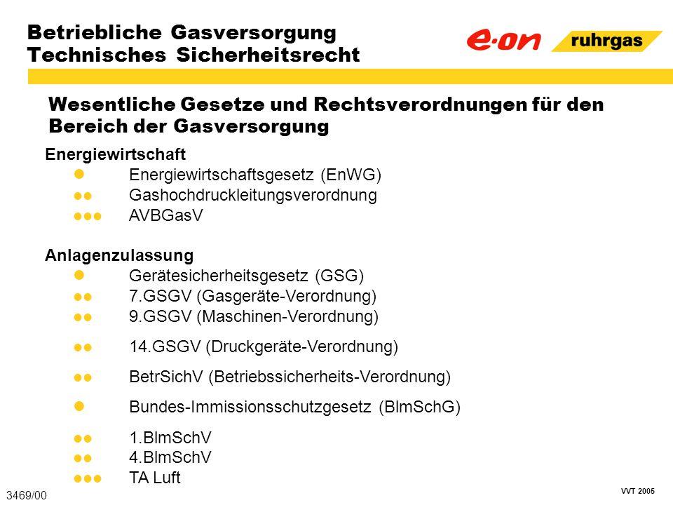 VVT 2005 Betriebliche Gasversorgung Technisches Sicherheitsrecht Wesentliche Gesetze und Rechtsverordnungen für den Bereich der Gasversorgung 3469/00
