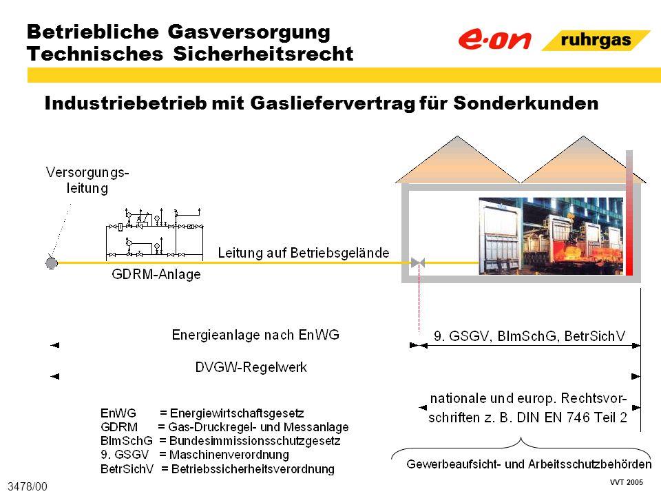 VVT 2005 Betriebliche Gasversorgung Technisches Sicherheitsrecht Industriebetrieb mit Gasliefervertrag für Sonderkunden 3478/00